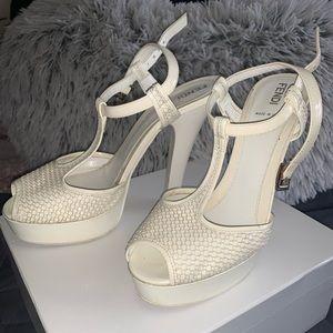 Fendi t-strap peep heel patent/mesh
